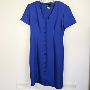 Vintage Dawn Joy Blue Button Dress